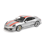 PORSCHE 911 R SILVER WITH RED STRIPES AND BLACK WRITING 2016
