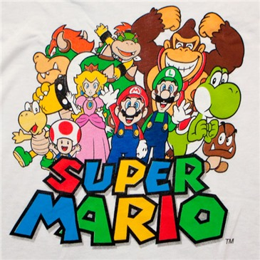 Super MARIO Bros Nintendo Cast White Juniors Graphic Tee Shirt