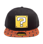 NINTENDO Super Mario Bros. Question Mark Patch with Brick Brim Snapback Baseball Cap, Unisex, Black/Brown