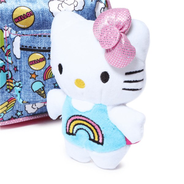 Hello Kitty Pink Denim Tote with Hello Kitty Plush Cat
