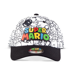 NINTENDO Super Mario Bros. Logo with Villains All-over Print Adjustable Cap, Unisex, Multi-colour