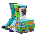 Scooby Doo 3-Pack Men's Casual Crew Socks with Mystery Machine Gift Box
