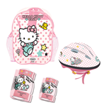 HELLO KITTY Club Children's Helmet, Knee, Elbow Protection Set with Carry Bag, Girl, Ages Three Years and Above, Pink/White