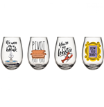 Friends TV Show Quotes and Icons 4-Piece 12oz Teardrop Glass Set