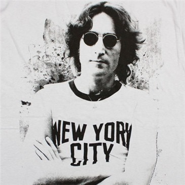 Buy Official John Lennon Nyc New York City Light Grey Graphic T Shirt