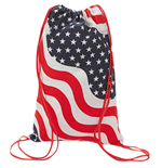 PATRIOTIC USA Stars Stripes Canvas Backpack Sack Bag