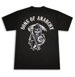 SONS OF ANARCHY Reaper Arch Logo Black Graphic Tee Shirt