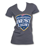Milwaukee's Best Light Faded Logo Womens Charcoal Graphic Tee Shirt