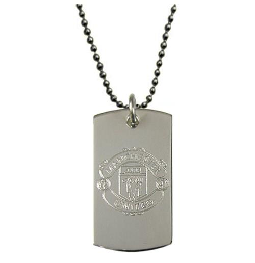 Manchester United F.C. Engraved Crest Dog Tag and Chain