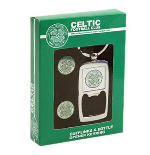 Celtic F.C. Cufflinks and Keyring Bottle Opener Set