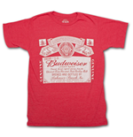 BUDWEISER Classic Logo Heather Red T Shirt