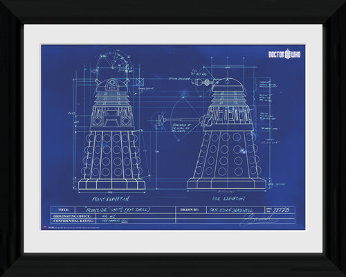 Doctor Who Dalek Blueprint Framed Photographic Print