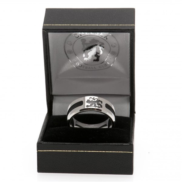 Chelsea F.C. Black Inlay Ring Medium