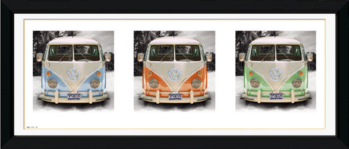 VW Californian Camper Triptych Framed Photographic Print