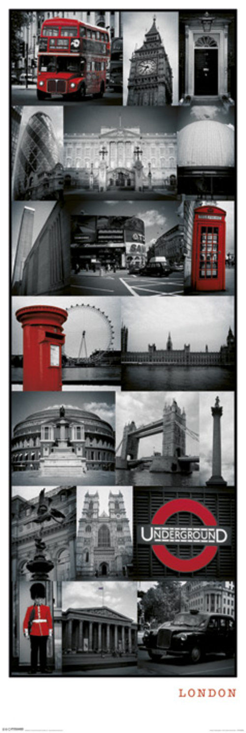 London Collage Door Poster