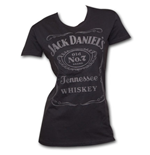 Jack Daniel's Raised Logo Juniors T Shirt Black