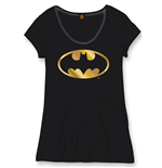 Batman Ladies T-Shirt Gold Logo black