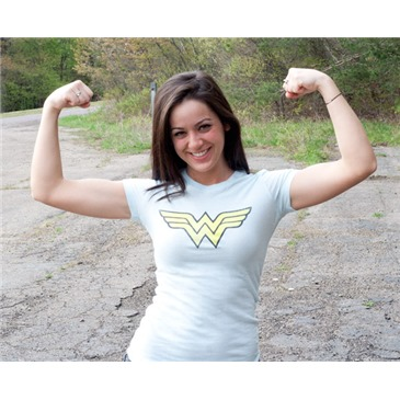 WONDER WOMAN Classic Logo Juniors Light Blue Graphic TShirt